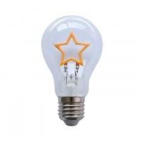 LED-Lampe mit sternförmigem Filament, Dimmbar, Glas, E27, 1,5W, Gelbe Licht, für Außen