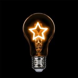 LED-Lampe mit sternförmigem Filament, E27, 1.5W, Glas, Dimmbar, Gelbe Licht, für Außen