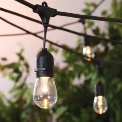 Lichterkette 15M mit 15 Pendel LED-Birnen, E27, 2W, Kunststoff, Dimmbar, Schwarzes Kabel, Verbindbar 500M, für Außen