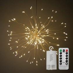 Dekorative Lampe mit 120 Mini-LEDs zu Hängend, Kupferdraht, Dimmbar, mit Fernbedienung und Batteriebetrieb, Warm Licht, für Außen