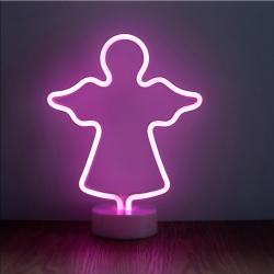 Dekorative Lampe Engel Neon mit Ständer, Warm Licht, mit Batteriebetrieb