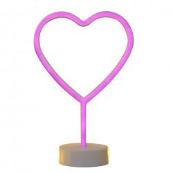 Dekorative Lampe Typ Herz Neon mit Ständer, Warm Licht, mit Batteriebetrieb