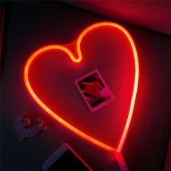 Dekorative Lampe Typ Herz Neon, Warm Licht, mit Batteriebetrieb