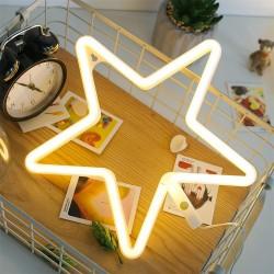 LED Leuchten Stern, Leuchtreklame, Kunststoff, Warm Licht, mit Batteriebetrieb