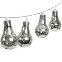 Party Lichterkette 2M mit 10 Silber Glühbirnen mit 50 Mini-LEDs, Durchsichtig Kabel, Warm Licht, Batteriebetrieben, für Außen