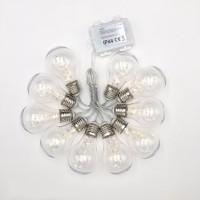 Party Lichterkette 2M mit 10 Glühbirnen mit 50 Mini-LEDs, Durchsichtig Kabel, Warm Licht, Batteriebetrieben, für Außen