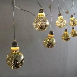 Party Lichterkette 3,6M mit 10 Großen Lampen mit 100 Mini-LEDs, Durchsichtig Kabel, Warm Licht, Strombetrieben, für Außen