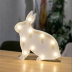 Kaninchen Volumetrische Förmchen weiß mit 10 LEDs, Batteriebetrieb