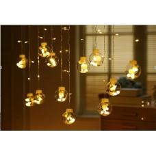 Dekorative Lichtervorhang 3M mit 12 Globen, Durchsichtig Kabel, 8 Programmen, Warm Licht, Verbindbar 15M, für Außen
