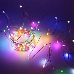 Kupferlichterkette 10M mit 100 Mehrfarbige-LEDs, Warm Licht mit Batteriebetrieb