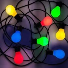 Lichterkette 10M mit 20 Buntes LED-Birnen, E27 3W, Schwarzes Flachkabel/Rundkabel, Warm Licht, Verbindbar 120M, für Außen